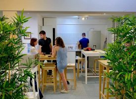 Kitchen and amenities of our french school in Bordeaux
