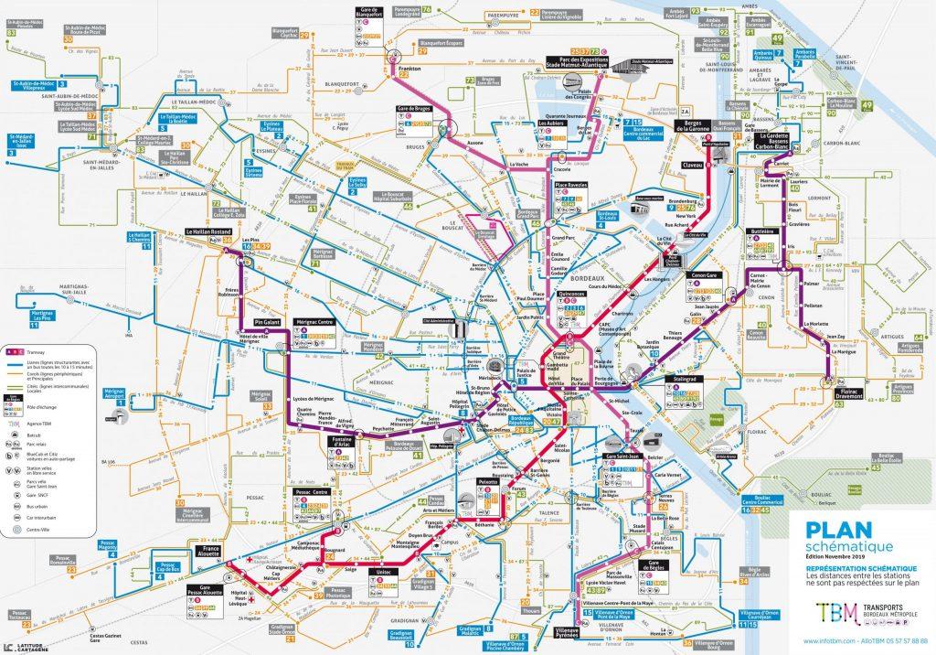 plan schématique du réseau de tram de Bordeaux, France