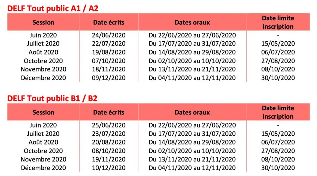 calendrier examen delf dalf bordeaux newdeal institut