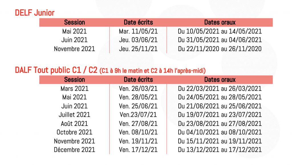 calendrier delf/dalf 2021 bordeaux